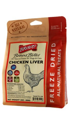 Bravo Bonus Bites Freeze Dried Chicken Livers, 3-Ounce, My Pet Supplies