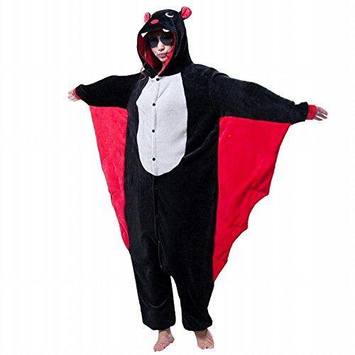 ABING Halloween Pajamas Homewear OnePiece Onesie Cosplay Costumes Kigurumi Animal Outfit Loungewear,Bat Adult M -for Height (Bat Man Outfit)