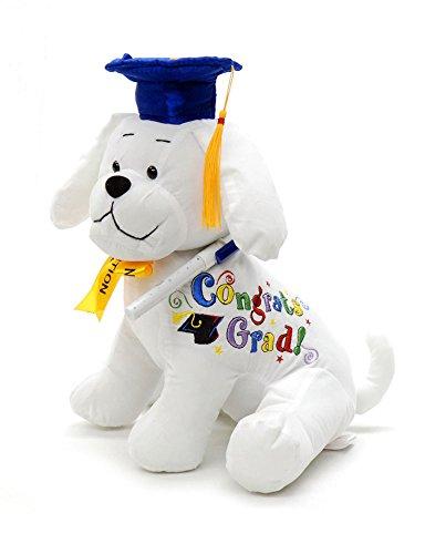 Graduation Autograph Stuffed Dog With Pen, Blue Hat - Congrats Grad! -