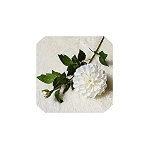 Artificial Chrysanthemum Flower Silk Real Touch Fake Flower Branch for Home Table Garden Decor,White 92
