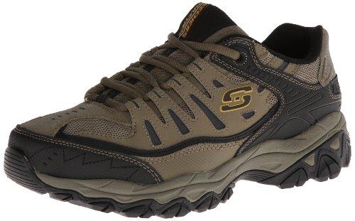 Skechers Sport Men's Afterburn Memory Foam Lace-Up Sneaker,Pebble/Black,8.5 4E US