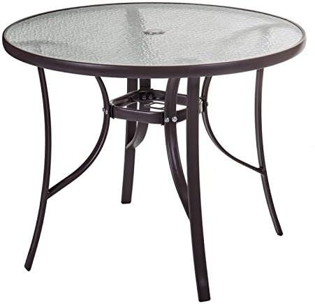 Mesa de jardín redonda 90 cm en cristal y acero marrón Nebra – L 90 x L 90 x H 72: Amazon.es: Hogar