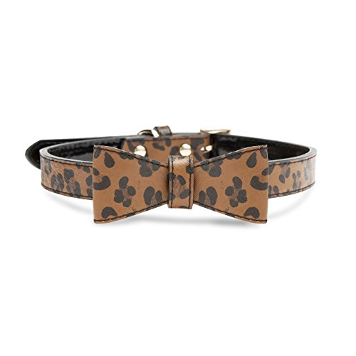 e Faux Leather Bow Tie Dog Collar, Leopard Print ()