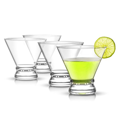 JoyJolt 4-Piece Afina Cocktail Glasses Set, Martini Glasses- 8-Ounces (Cosmo Glasses Stemless)