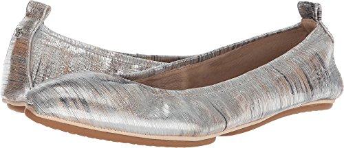 Yosi Samra Women's Vince Ballet Flat, Silver/Metallic Noise Leather, 6 Medium US (Ballet Metallic Leather Flats)