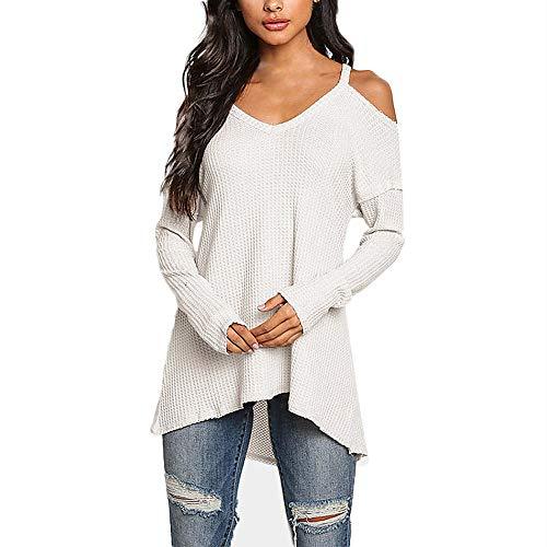 Oasisocean Womens Blouses,Women's Cold Shoulder Tunic Tops Long Sleeve Casual Shirts Loose Blouse Irregular Hem T-Shirt White