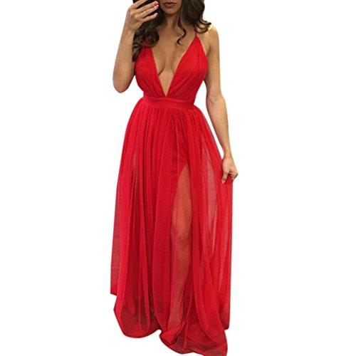 Damen V-Ausschnitt Kleider ,TPulling Frau Einfarbig ärmelloses V-Ausschnitt Hosenträgerkleid Sleeveless Reizvolle V-Ausschnitt Riemchen-langes Knöchel-langes Clubwear Partykleid Rot