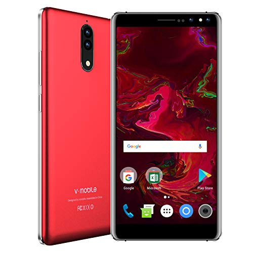 Smartphone Red Unlocked (V Mobile N8,Unlocked Smart Phone,5.5 Inch,16GB ROM, 8MP+5MP Camera,Dual SIM,2800mAh Battery,Quad-core,Android 7.0,3G Unlocked Cell Phones Support AT&T and T-Mobile.)
