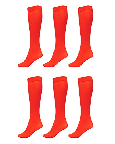6 Pack of Women Trouser Socks with Comfort Band Stretchy Spandex Opaque Knee High, Red, 9-11