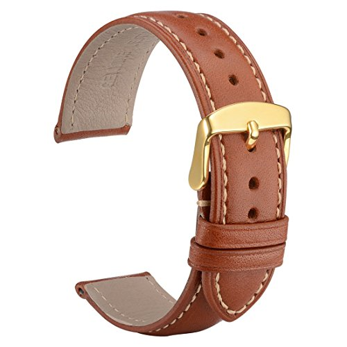 Leather Belt Watch - WOCCI Untextured Leather Watch Strap with Gold Buckle, 20mm Watch Band for Men Women (Red Brown with Contrasting Seam)