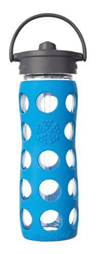 Lifefactory 22-Ounce BPA-Free Glass Water Bottle with Straw Cap and Silicone Sleeve, Ocean
