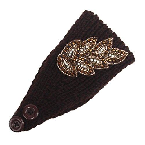 Women Head Wrap Soft Hair Band Lady Rhinestone Headwear Turban Twist Headband (Coffee) - 7
