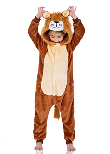 Kids Fleece Onesie Lion Pajamas Animal Christmas Halloween Cosplay Costume]()