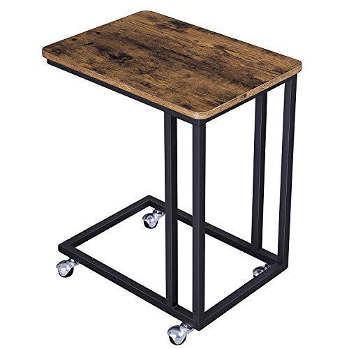 VASAGLE Industrial Side Table, Mobile Snack Table for Coffee Laptop Tablet, Slides Next to Sofa Couch, Wood Look Accent Furniture with Metal Frame ULNT50X ()