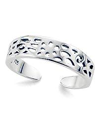 Sterling Silver Filigree Calypso Adjustable Toe Band Ring