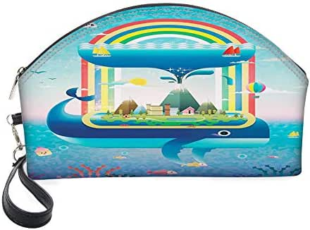 Half Moon Cosmetic Beauty Bag,Ecology Environmental Global Concept with a Rainbow Ocean and a Big Whale for Women & Girls School Travel Office