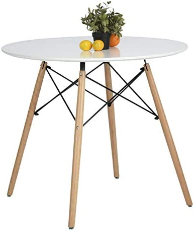 picture of Coavas Kitchen Dining Table White Round Coffee Table Modern Leisure