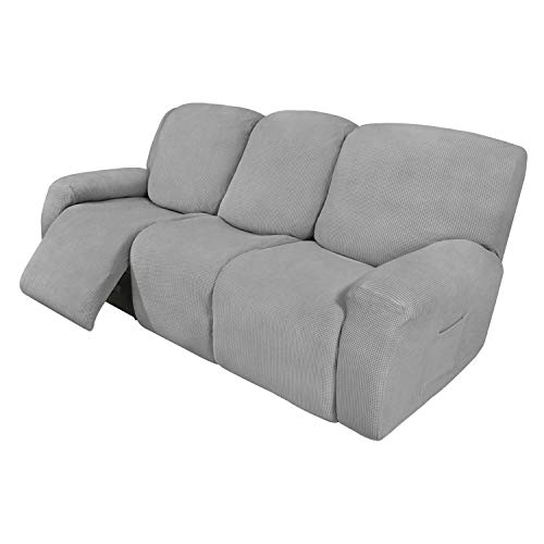 Easy-Going 8 Pieces Recliner Sofa Stretch Sofa Slipcover Sofa Cover Furniture Protector Couch Soft with Elastic Bottom Kids, Spandex Jacquard Fabric Small Checks Light Gray