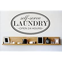 Decal - Vinyl Wall Sticker : Self Serve LAUNDRY Quote Home Living Room Bedroom Decor DISCOUNTED SALE ITEM - 22 Colors Available Size: 10 Inches X 20 Inches