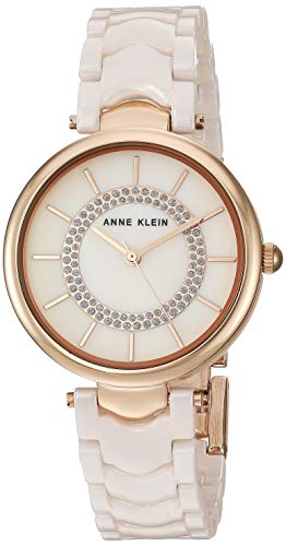 (Anne Klein Women's AK/3308LPRG Glitter Accented Rose Gold-Tone and Light Pink Ceramic Bracelet Watch)