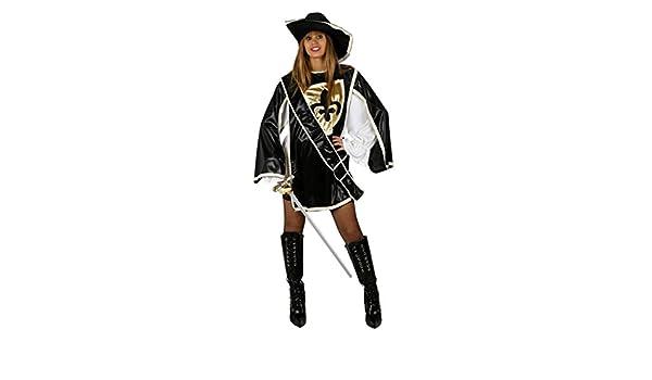 Desconocido Disfraz negro de mosquetera para mujer: Amazon.es ...