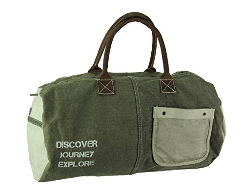 Recycled Small Duffle - Canvas Womens Duffel Bags Discover Journey Explore Peace Sign Recycled Canvas Duffel Bag 19.5 X 13 X 4 Inches Olive