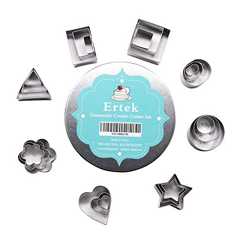 Ertek Cookie Cutters Set- 24 Pieces Small Geometric Assorted Size Stainless Steel Plain Edge Cutters for Kitchen, Baking, Dessert Plating Design and Molding Cake Decoration