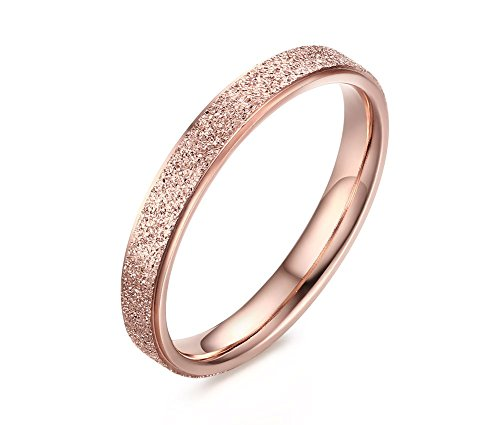 Price comparison product image Stainless Steel Sand-Blasted Band Ring for Women Wedding Promise Engagement Rose Gold Plated Size 6