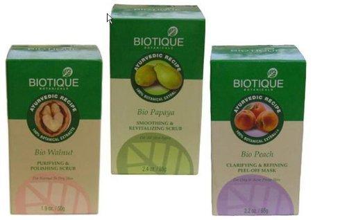 Biotique Exfoliaters и Кусты Деньги Saver Set (Walnut кожа полироль, Папайя Скраб и персик Pack)