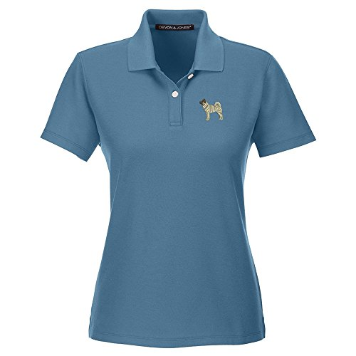 Akita Slate (YourBreed Clothing Company Akita Embroidered Ladies Cotton Golf Shirt)