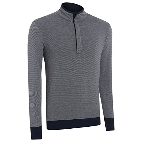 Ashworth Double Layer Stripe Half Zip Thermal Sweater Mens Golf Pullover-Fully Lined Navy Large