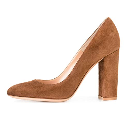 Sammitop Women's Round Toe Block Heel Pumps Suede Chunky Heel Dress Shoes Brown US10.5 ()