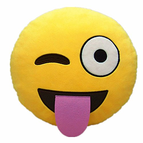 Cheeky Emoji Pillow Yellow Emoticon product image