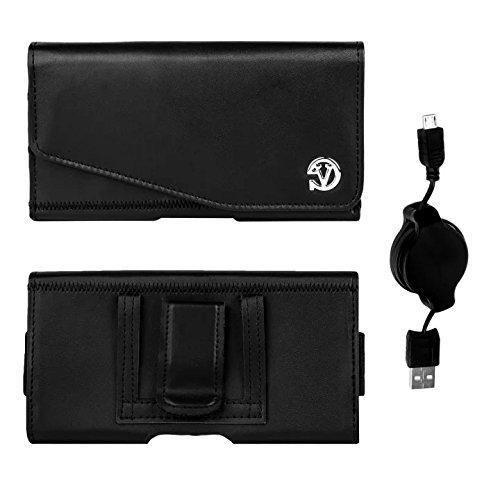 Noble PU Leather Holster Case w/Belt Clip for BLU Studio 5.0 E/Studio 5.0 K/Studio 5.0 S II/Studio 5.5 S + Retractable Micro USB Cable (Black) -  Vangoddy, 8907198292960