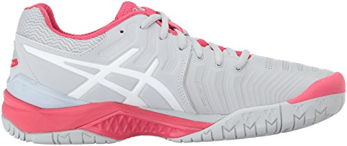 ASICS Damen Gel-Resolution 7 Tennisschuh Gletscher Grau / Weiß / Rouge Rot
