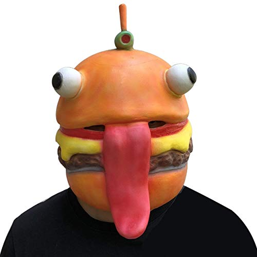 CZDERE Fortnite Durrr Burger Latex Mask for Halloween Cosplay Party Costume Rubber for Mens Boys Youth