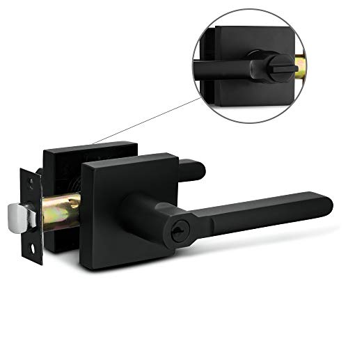 Berlin Modisch Entry Lever Door Handle Lock and Key Slim Square Locking Lever Set [for Front Door or Office] Reversible for Right & Left Sided Doors Heavy Duty – Iron Black Finish