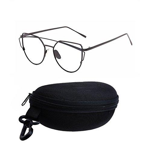 CAT de la calle soporte en sol espejo sol de gafas Marco metal gafas moda mujeres funda lentes Gafas de sol Retro para con gato de black de mujer negro negro Transparent de AOLVO eye Ojo UV400 twpF0qft