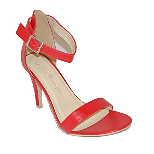 Orly Shoes Women's Wide Width Strappy PU Heel Sandal Pump in Bright Red Size: 11W