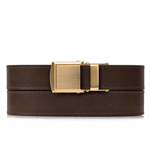 Mocha Skinny Belt with Gold Buckle