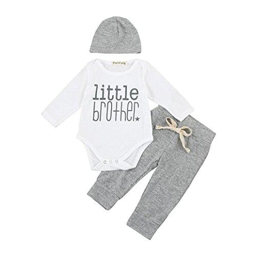 Mandystore 3Pcs Set Baby Outfits Newborn Boys Letter Rompers Jumpsuit Tops Pants Clothes (0-6 Months, White) - Newborn Boys Outfits