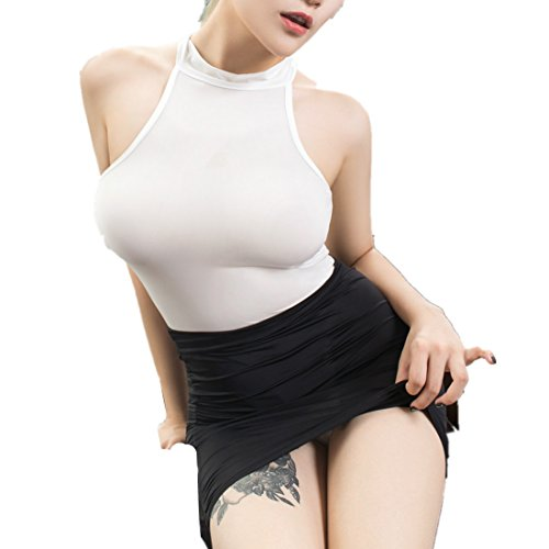 Aiybao Womens Sexy Secretary See Through Uniform Cosplay Costume Lingerie Strappy Corset Nightie Sleepwear Underwear Dress (White+Black) -