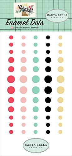 Dot Beaux (Carta Bella Paper Company CBMK96028 Flower Market Enamel dots Teal, Pink, tan, Green, Cream)