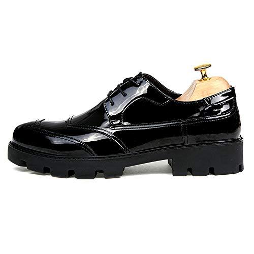 Casual Scarpe Cricket Black Moda Scarpe e Brogue Oxford verniciate da Business Convenzionali Soletta rialzata Gloss Casual Uomo Pelle in da IwXHxTxq8S