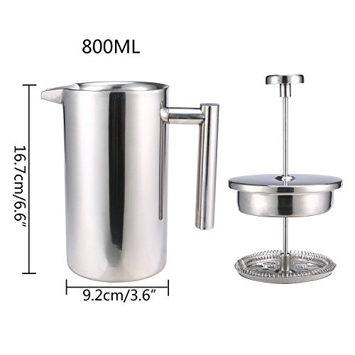 Large French Press Coffee Maker, Aolvo Double Walled Insulated 304 Stainless Steel French Press Filter, Most Use As Coffee and Tea Filter, 800 Ml (27 Oz)- Silver