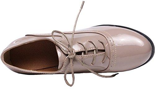 Ppxid Scarpe Da Donna Stile Britannico Lace Up Piattaforma Heeled Oxford Scarpe Da Lavoro Albicocca