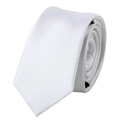 White Solid Slim tie Matching Gift Box Set White Smoke christmas gift PS1034 One Size White (Thin White Tie)