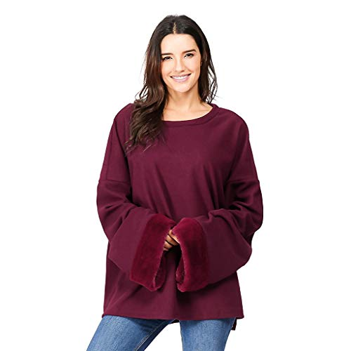 Women Plus Size Plush Stitching Solid Color Round Neck Long-Sleeved Blouse 3XL -