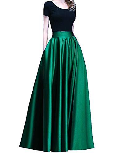 Diydress Women's Long Satin Maxi Skirt Floor Length High Waist Fomal Prom Party Skirts with Pockets