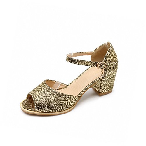 Amoonyfashion Femmes Peep Toe Chaton-talons Matériau Souple Solide Boucle Sandales Or